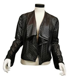 Calvin Klein Faux Leather Laser Cut Open Jacket